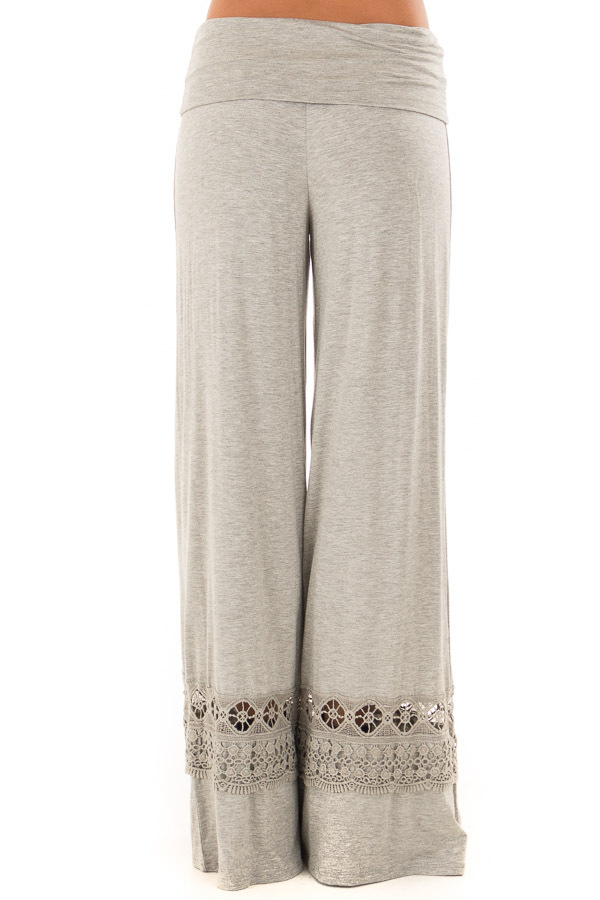 Heather Grey Pants with Sheer Crochet Details back view