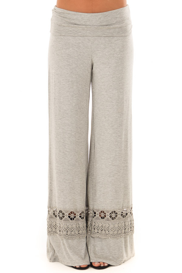 Heather Grey Pants with Sheer Crochet Details front view