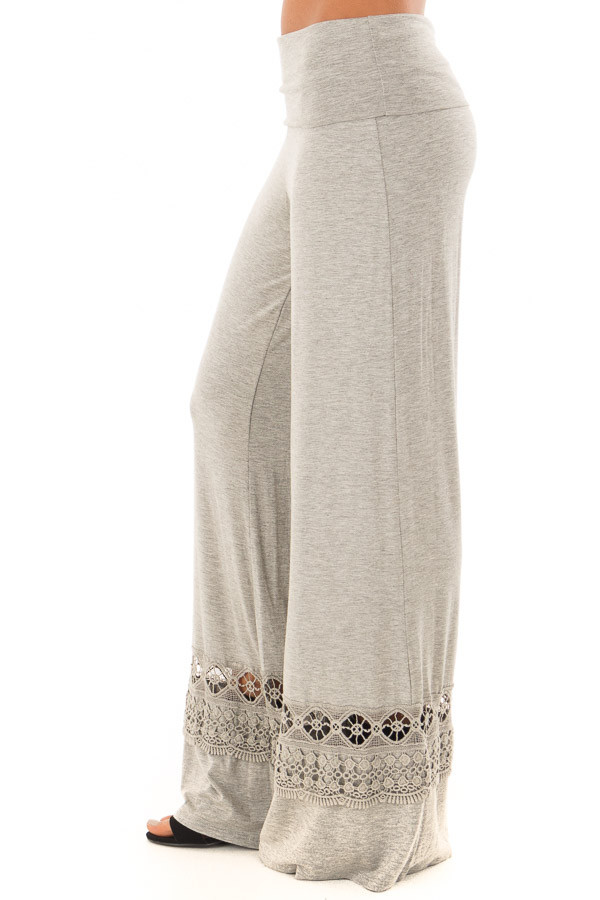 Heather Grey Pants with Sheer Crochet Details side view