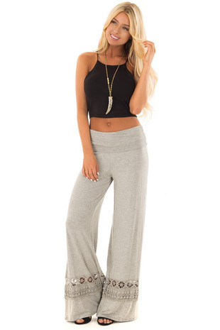 Heather Grey Pants with Sheer Crochet Details front full body