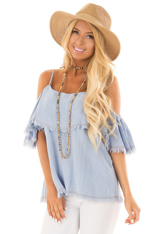 Light Wash Denim Cold Shoulder Top with Frayed Edges front close up