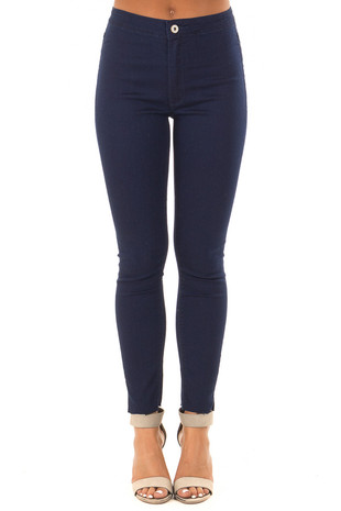 Dark Blue High Waisted Denim with Raw Cut Hemline front view