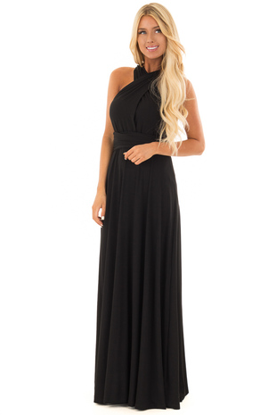 Black Slinky Maxi Dress with Wrap Tie Waist Belt front full body