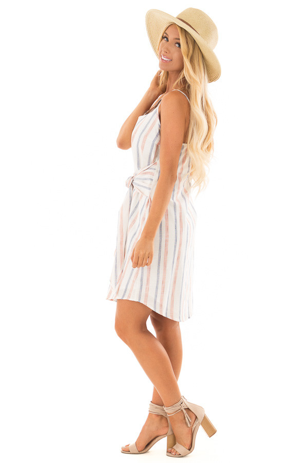 Rust and Denim Striped Spaghetti Strap Belted Bow Mini Dress side full body