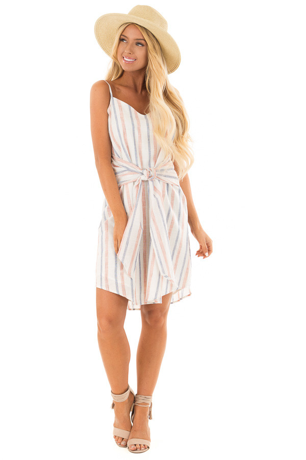 Rust and Denim Striped Spaghetti Strap Belted Bow Mini Dress front full body