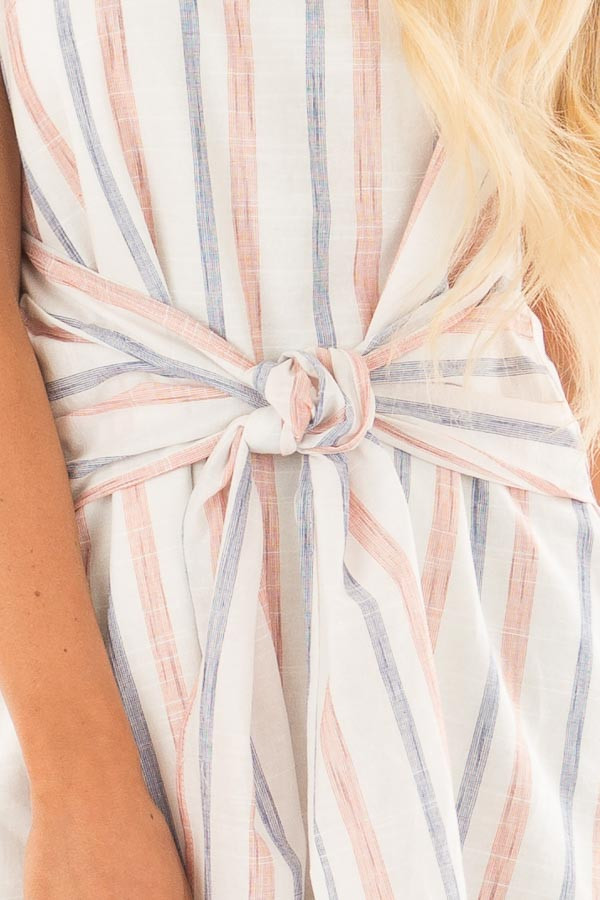 Rust and Denim Striped Spaghetti Strap Belted Bow Mini Dress detail