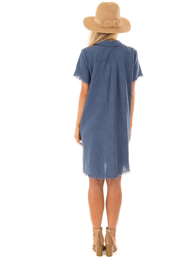 Denim Blue Short Sleeve Collared Dress with Pockets back full body
