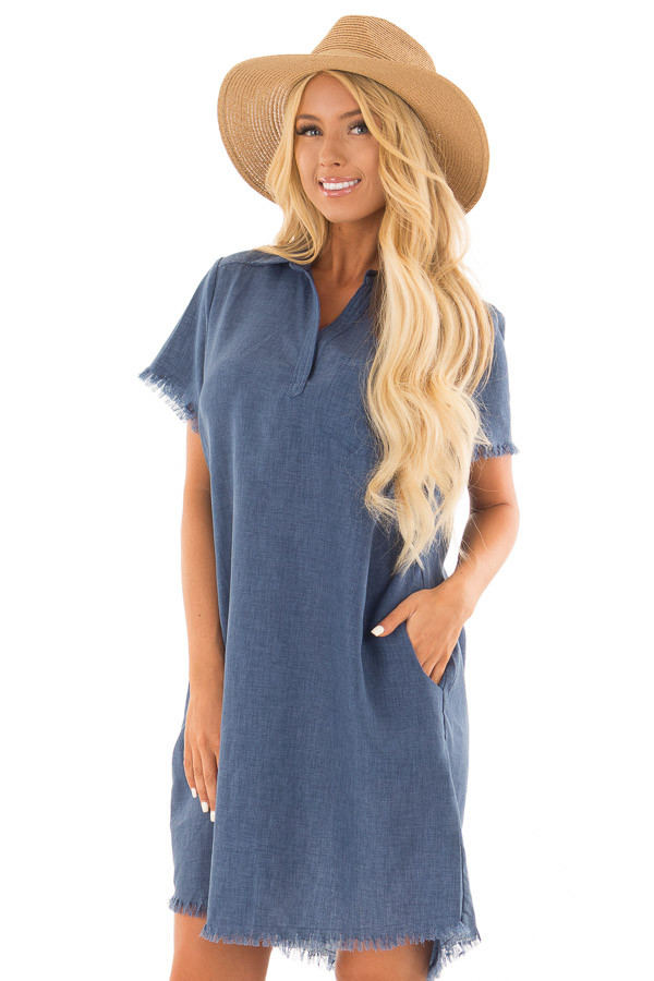 Denim Blue Short Sleeve Collared Dress with Pockets front close up