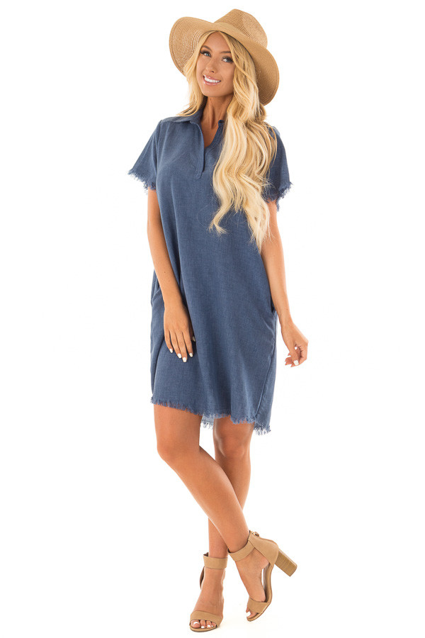 Denim Blue Short Sleeve Collared Dress with Pockets front full body