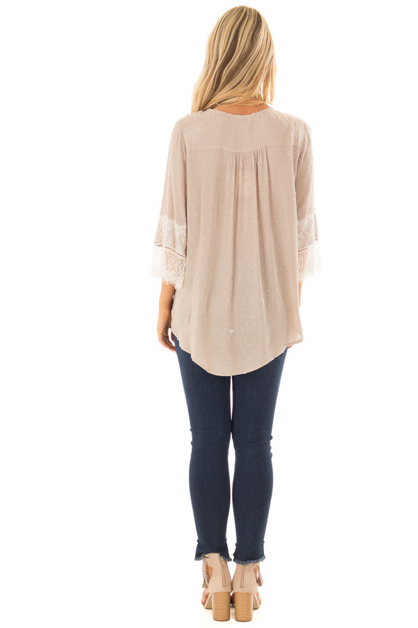 Latte Textured Crossover Blouse with Cream Lace Details back full body