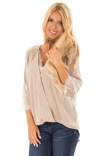 Latte Textured Crossover Blouse with Cream Lace Details front close up