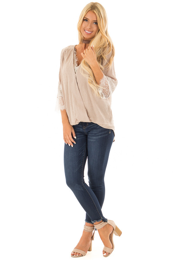 Latte Textured Crossover Blouse with Cream Lace Details front full body