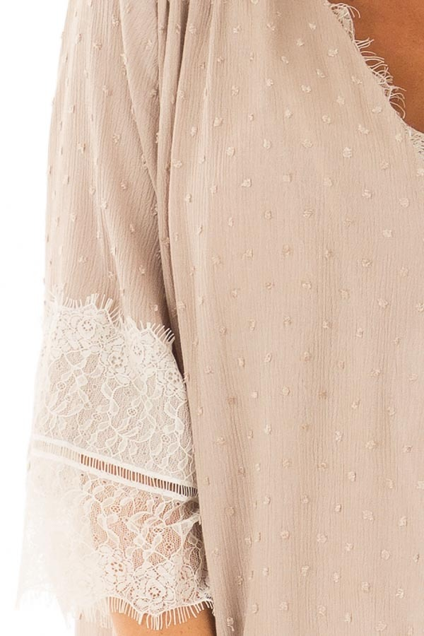 Latte Textured Crossover Blouse with Cream Lace Details detail