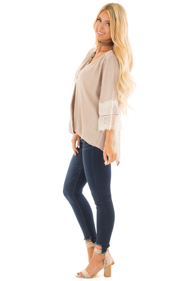 Latte Textured Crossover Blouse with Cream Lace Details side full body