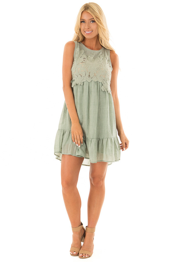 Dusty Mint Sleeveless Dress with Crochet Embroidered Yoke front full body