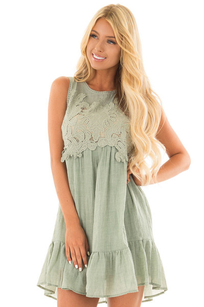 Dusty Mint Sleeveless Dress with Crochet Embroidered Yoke front close up