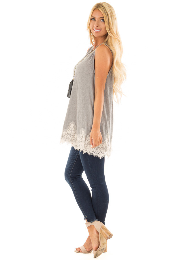 Cement Soft Tank Top with Cut Out Back and Lace Details side full body