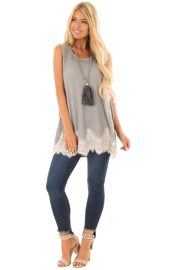 Cement Soft Tank Top with Cut Out Back and Lace Details front full body