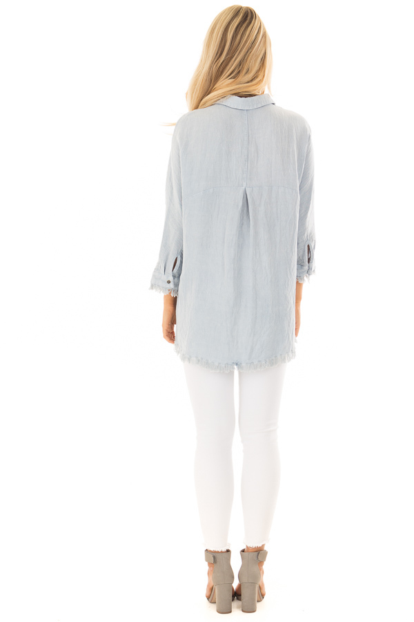 Light Blue 3/4 Sleeve Button Up Top with Front Pocket back full body