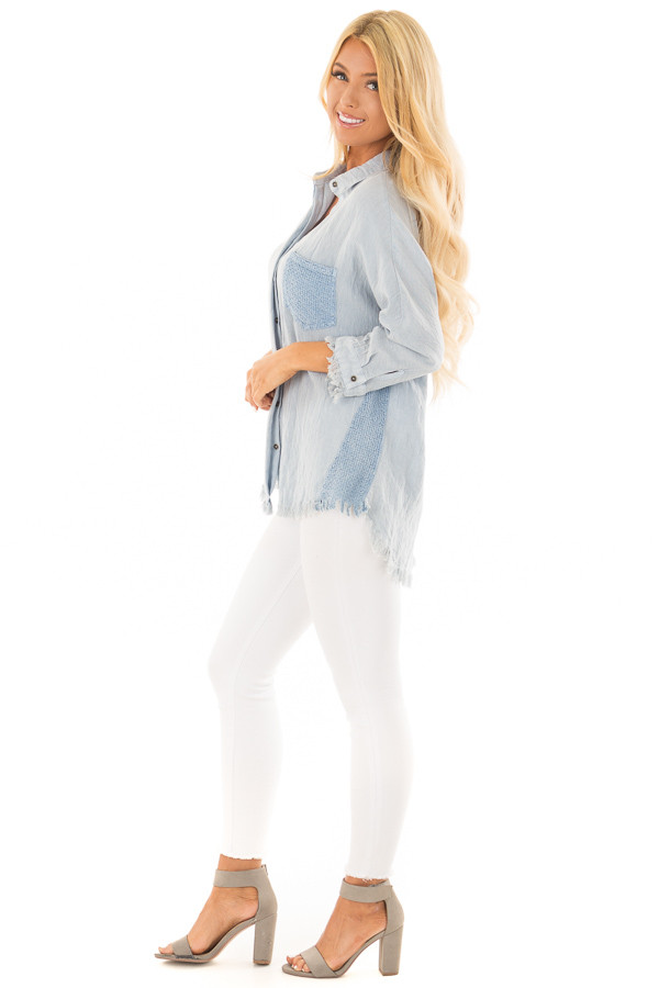 Light Blue 3/4 Sleeve Button Up Top with Front Pocket side full body