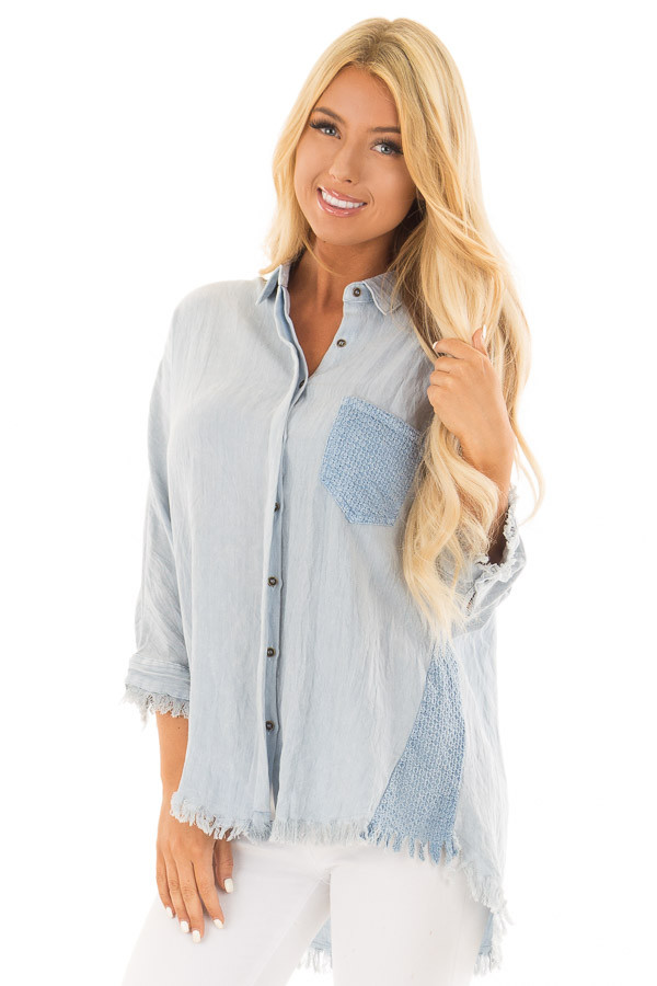 Light Blue 3/4 Sleeve Button Up Top with Front Pocket front close up