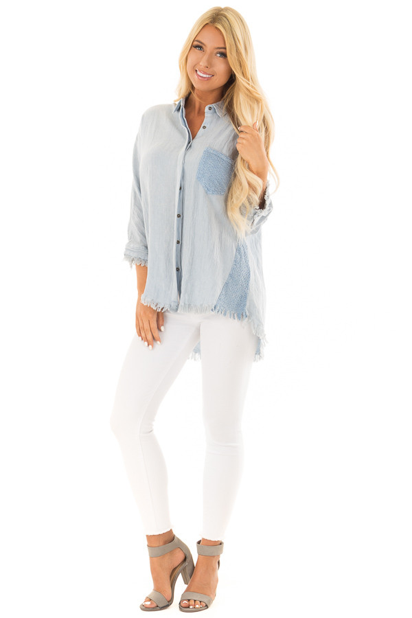 Light Blue 3/4 Sleeve Button Up Top with Front Pocket front full body