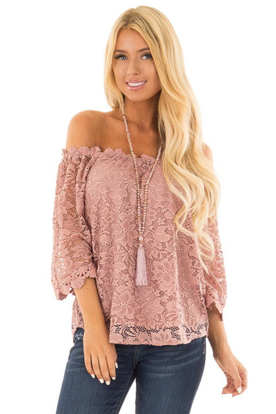 Dusty Rose Off the Shoulder Top with Sheer Lace Detail front close up