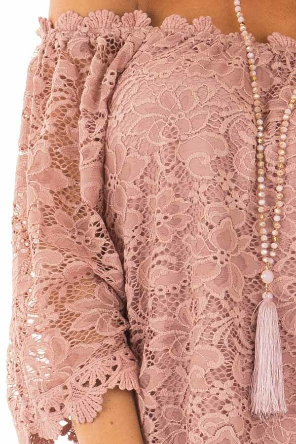 Dusty Rose Off the Shoulder Top with Sheer Lace Detail detail