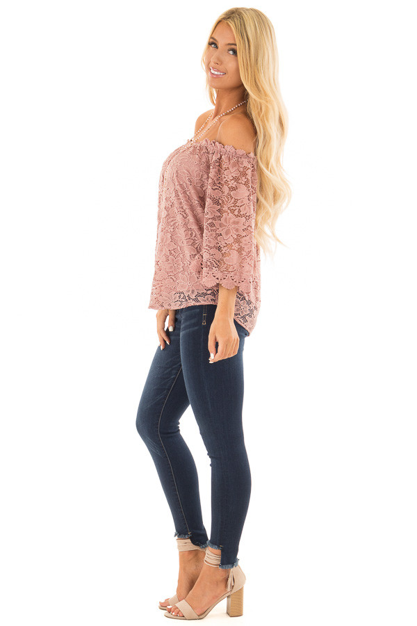 Dusty Rose Off the Shoulder Top with Sheer Lace Detail side full body