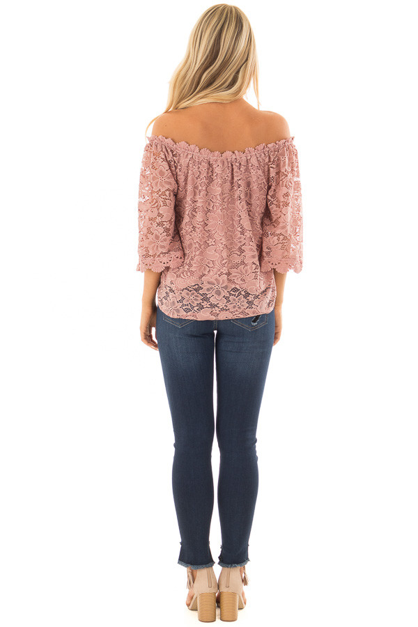 Dusty Rose Off the Shoulder Top with Sheer Lace Detail back full body