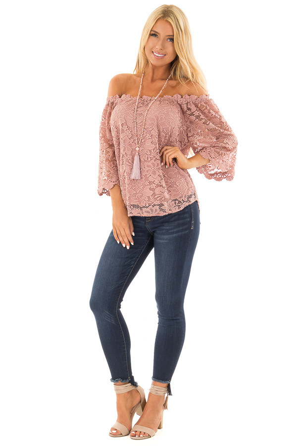 Dusty Rose Off the Shoulder Top with Sheer Lace Detail front full body