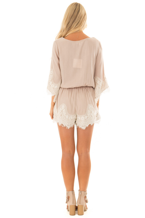 Latte Romper with Lace Trim and Tassel Tie back full body