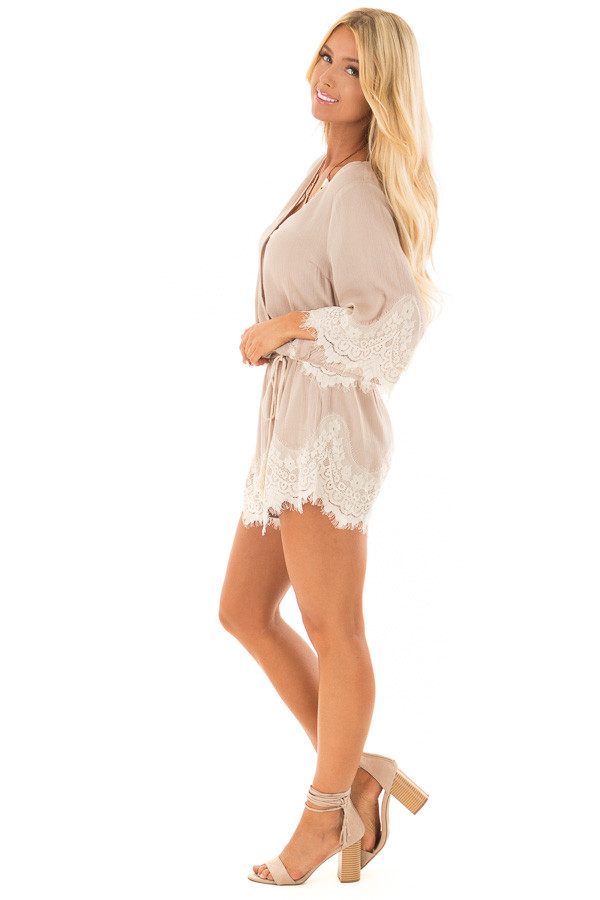 Latte Romper with Lace Trim and Tassel Tie side full body