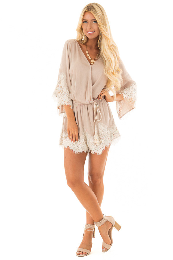 Latte Romper with Lace Trim and Tassel Tie front full body