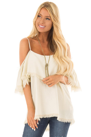 Cream Denim Cold Shoulder Top with Frayed Edges front close up