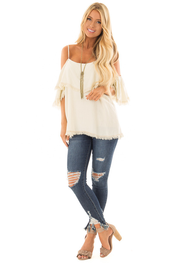 Cream Denim Cold Shoulder Top with Frayed Edges front full body