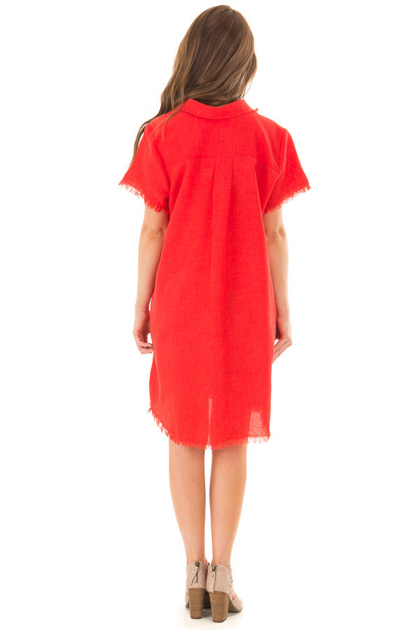 Cherry Red Short Sleeve Collared Dress with Pockets back full body