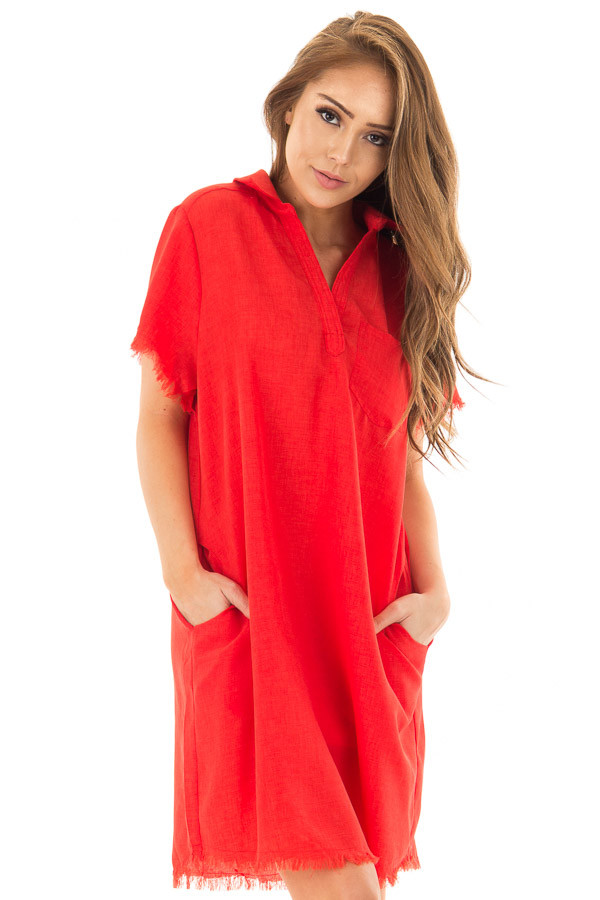 Cherry Red Short Sleeve Collared Dress with Pockets front close up
