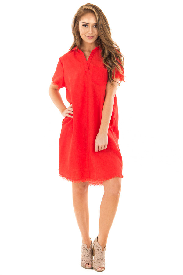 Cherry Red Short Sleeve Collared Dress with Pockets front full body