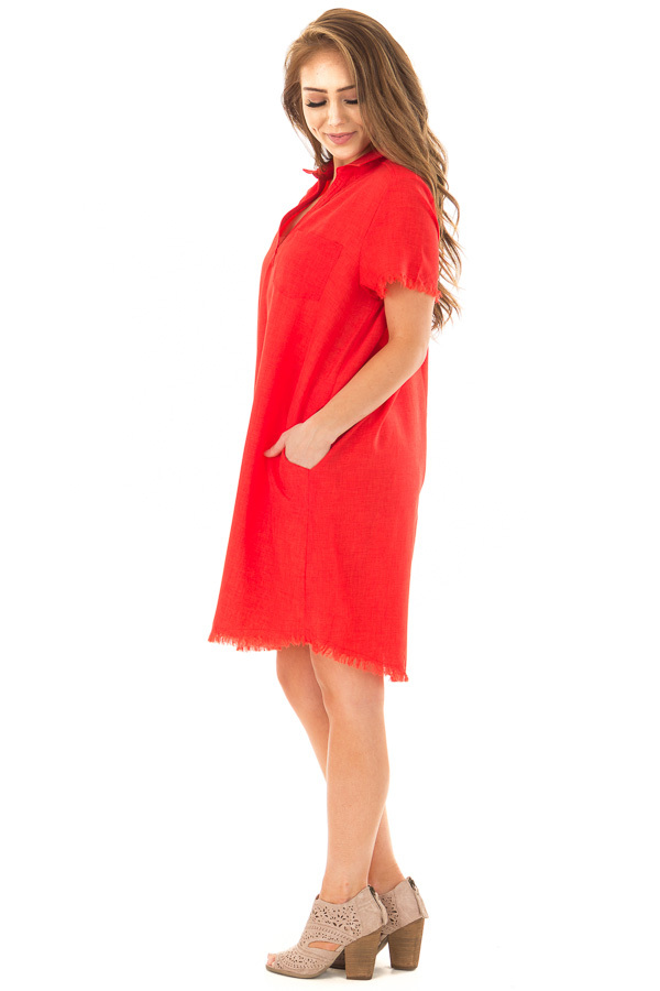 Cherry Red Short Sleeve Collared Dress with Pockets side full body