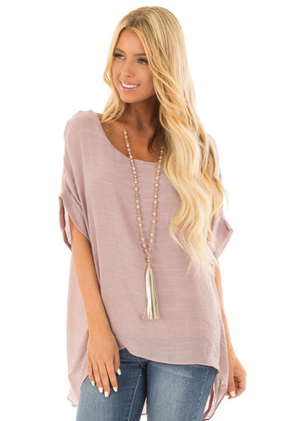 Dusty Rose Short Sleeve Top with Cuffed Sleeves front close up