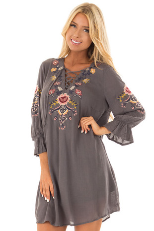 Slate 3/4 Sleeve Embroidered Dress with Criss Cross Detail front close up
