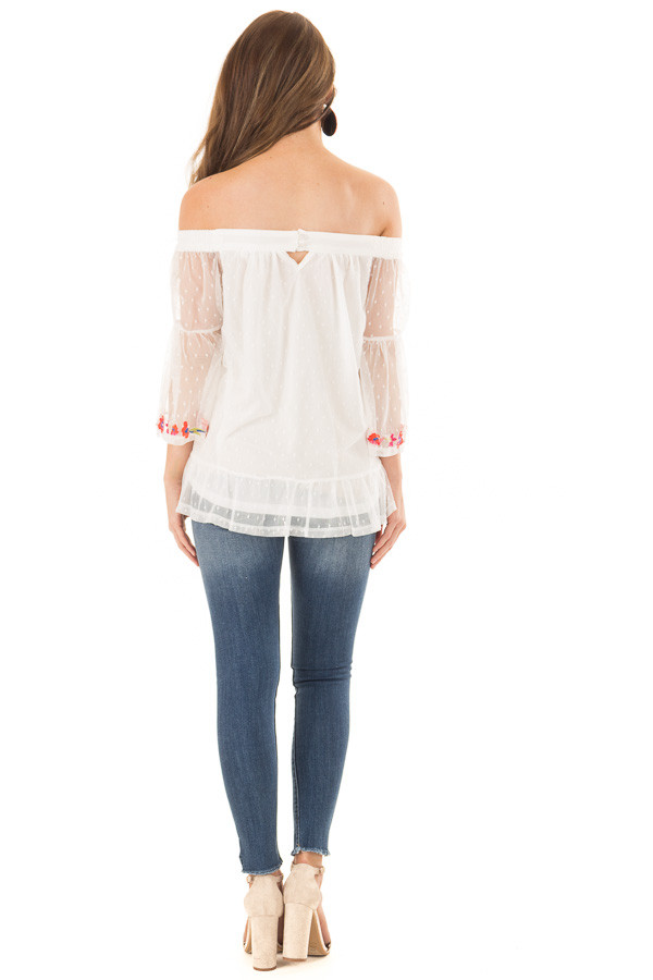 Off White Off the Shoulder Top with Embroidered Details back full body