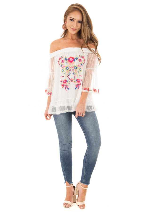 Off White Off the Shoulder Top with Embroidered Details front full body