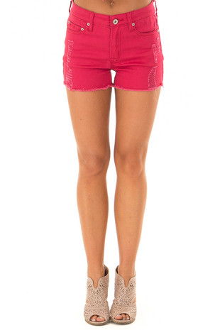 Crimson Denim Distressed Shorts with Frayed Hem front view
