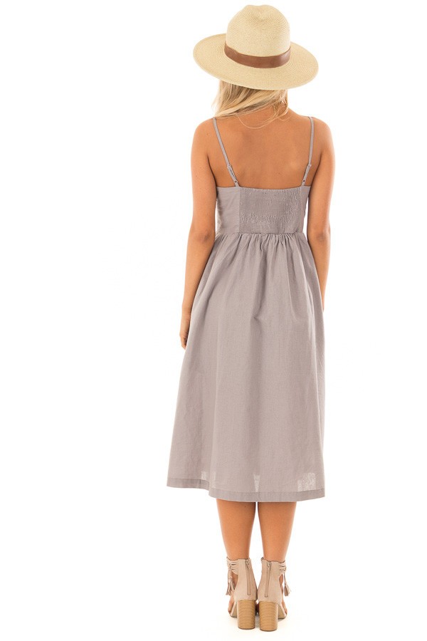Dusty Violet Button Down Midi Dress with Front Pockets back full body