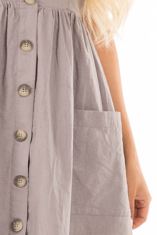 Dusty Violet Button Down Midi Dress with Front Pockets detail