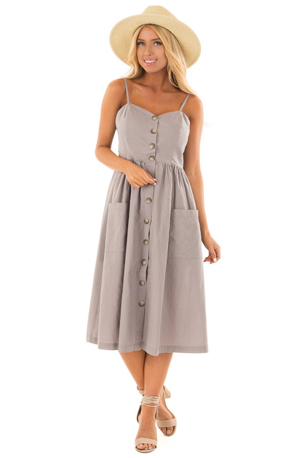 Dusty Violet Button Down Midi Dress with Front Pockets front full body