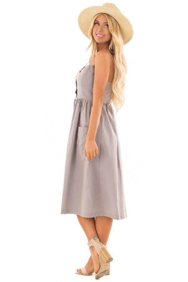 Dusty Violet Button Down Midi Dress with Front Pockets side full body