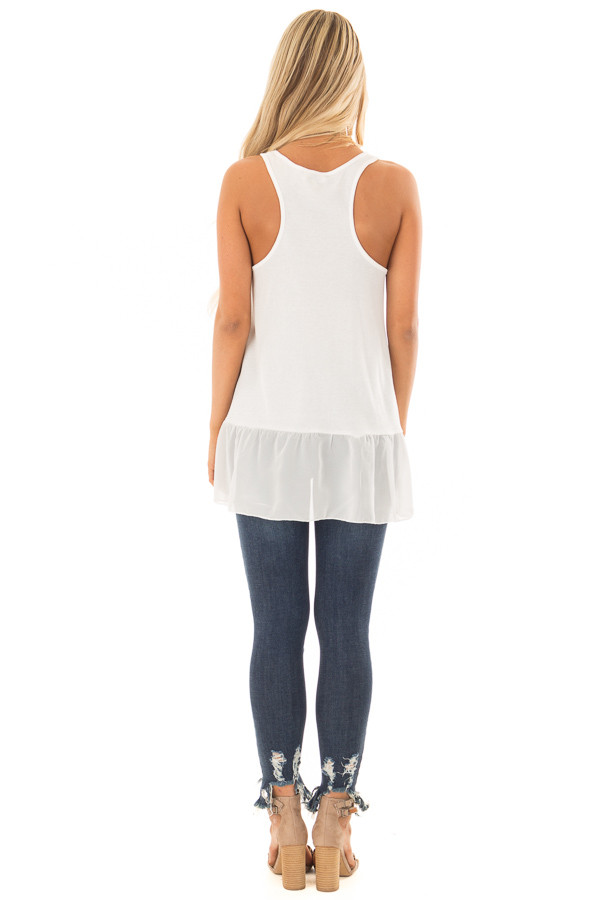Off White Ribbed Tank Top with Chiffon Trim back full body